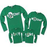 韓國秋款薄棉《我的一家-綠色》長袖親子裝@四件組【預購款】