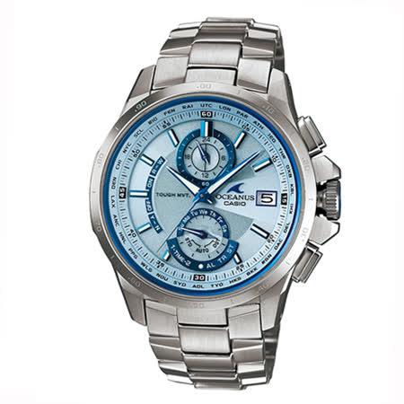 CASIO OCEANUS  豔白藍天時尚電波錶OCW-T1000E-2A