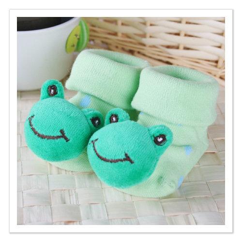 ^( 車^)KUKI 酷奇微笑青蛙立體 公仔初生襪嬰兒襪~內著紡品~k01603_a