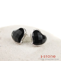 【石頭記】南方佳麗黑瑪瑙耳環-心形