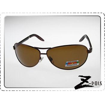 【視鼎Z-POLS頂級雷朋風格款】帥氣流行復古頂級質感100% 偏光搭皮質鏡腳UV4太陽眼鏡(褐)