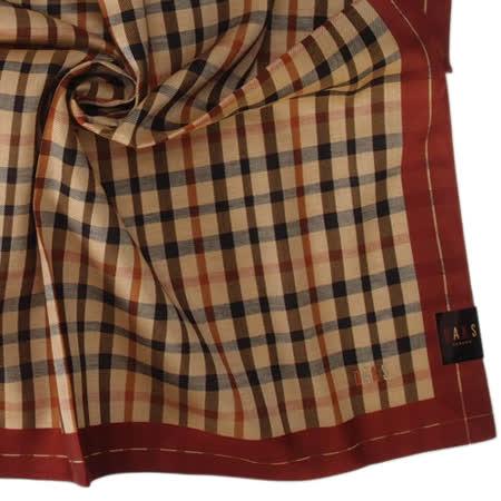 DAKS 經典細格紋刺繡logo帕領巾-深紅