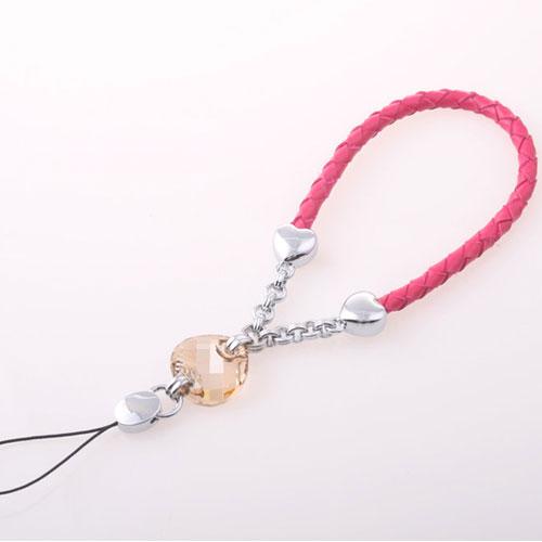 ★魔法Baby★真皮編織鍊+大水晶墬吊飾~流行精品,飾品~m0012