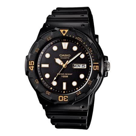 CASIO 魅力潛水風格型男腕錶(金色指針)