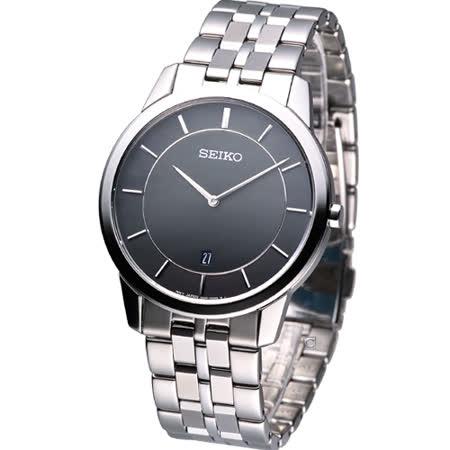 SEIKO 超薄型紳士 時尚腕錶-(7N39-0BY0D)黑色SKP381P1