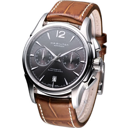 HAMILTON Jazzmaster 計時機械腕錶-(H32606585)灰面皮帶款