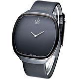 Calvin Klein 極簡大錶面經典酒桶腕錶(黑)