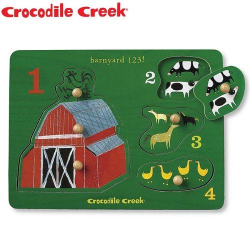 ~Crocodile Creek~寶寶木製拼圖^(歡樂農場^)