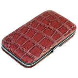 鱷魚皮紋輕巧框架皮盒6件式修容美甲組(5-891)