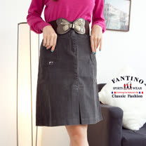 【FANTINO】百搭經典設計款.及膝牛仔裙(深灰) 963301