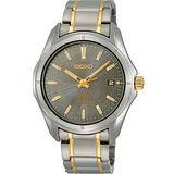 SEIKO 太陽能百米防水鈦金屬腕錶(V157-0AF0KS)-灰/金時標