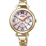 WIRED 摩登復古女孩風格腕錶(V14J-X007G)-金