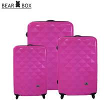 BEAR BEAR BOX 晶鑽亮面PC系列~輕硬殼行李箱3件組-晶鑽桃
