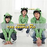 韓國冬款刷毛《小青蛙》連帽外套~長袖親子裝@三件組【預購款】