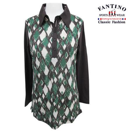 【FANTINO】台灣製*繽紛畫作配布拼接休閒長版襯衫(綠色)181102