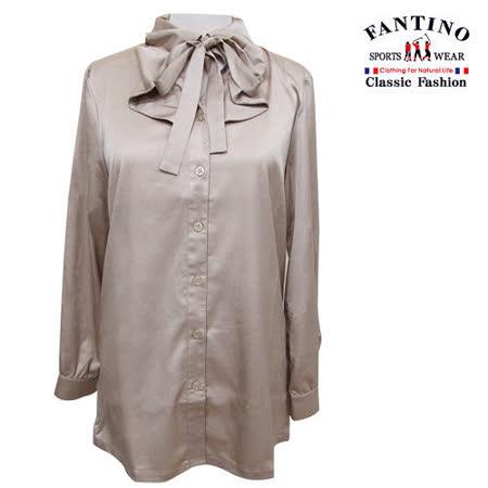 【FANTINO】女裝 日本進口布柔軟膚觸珠光V領蝴蝶結襯衫(金膚色)184204
