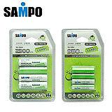 〔SAMPO〕低自放充電電池3號4入+4號4入
