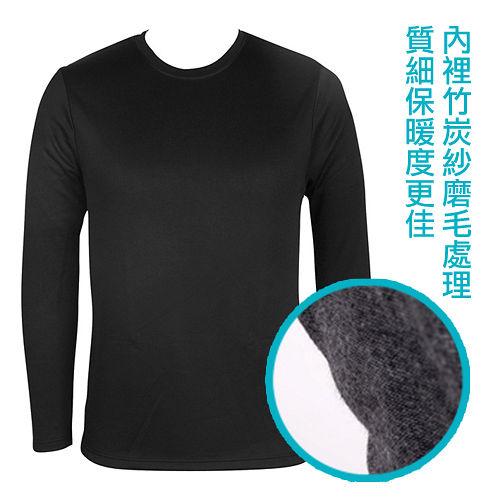 LACOYA 男圓領長袖保暖衣 AP019~2 黑