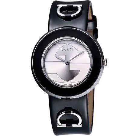 GUCCI U-Play系列皮革腕錶(YA129401)-黑/灰藍