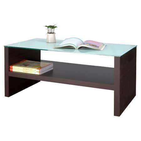 《BuyJM》台灣製造,防爆白玻璃雙層茶几桌2色(寬90公分)