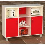 美滿家庭廚房置物櫃(紅白)