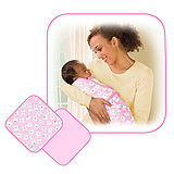 美國 Summer Infant SwaddleMe【刷毛絨布厚款 - 粉紅 2入裝】, 小號 - 可調式懶人包巾