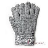 Lavender-典雅針織雙層手套-灰色