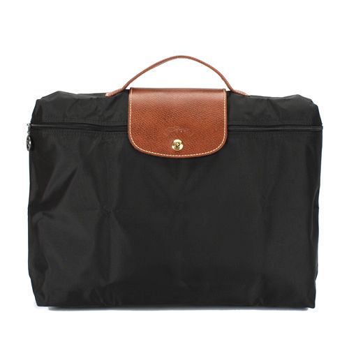 Longchamp 短提把(拉鍊式)手提公事包-黑色