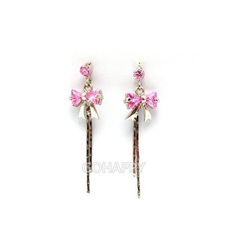 【表參の丘】粉色愛情流蘇水晶耳環