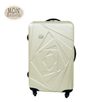 MON BAGAGE 花開富貴 ABS輕硬殼收納家24吋行李箱(香檳金/棗紅)