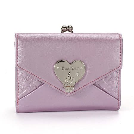 Crystal Ball 愛心飾鑽狗頭LOGO珠扣短夾-紫粉紅