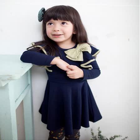 韓國設計製造~蝴蝶結荷葉邊藍色小洋裝~k17571
