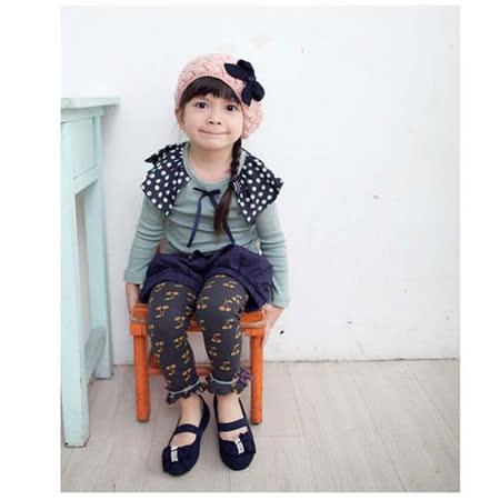 韓國設計製造~櫻桃圖騰藍色內搭長褲~k17564