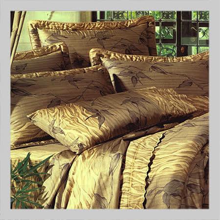 雅緻舞葉.60支精梳棉.精緻繡花.加大雙人床罩組全套
