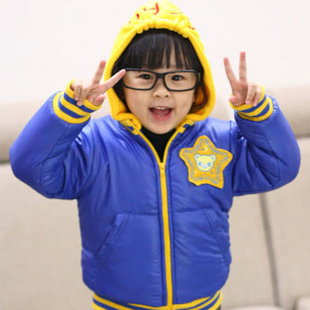 ★ 魔法Baby ★日單超可愛夾棉厚款保暖連帽外套~k05113~藍