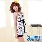 【SUMMERLOVE 夏之戀】黑白印花典雅長版三件式泳衣E11735