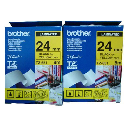 Brother 24mm 護貝帶系列 TZ-651 黃底黑字(5捲)