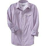 預購。美國【Old Navy-11】男裝Striped Slim-Fit Shirts亮眼直條紋口袋襯衫(紫)