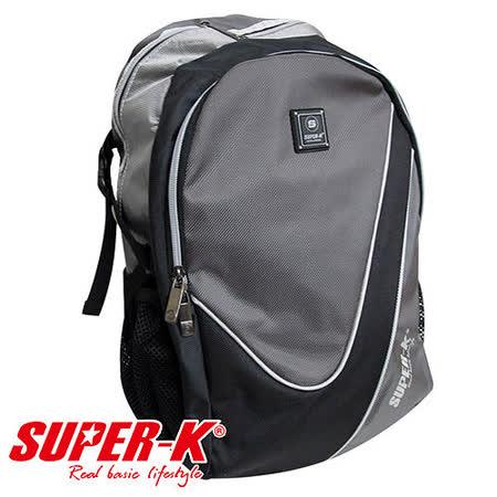 《購犀利》美國品牌【Super-K】休閒運動背包-黑/灰☆加厚透氣背墊☆
