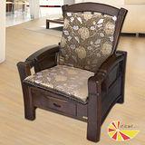 【凱蕾絲帝】木椅通~高支撐加厚連體L型坐墊(1入)-里昂玫瑰咖啡
