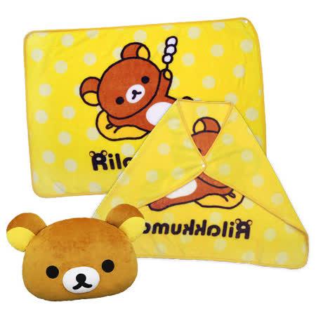 【享夢城堡】拉拉熊 我的麻糬 法蘭絨披毯+12吋抱枕組(隨機)