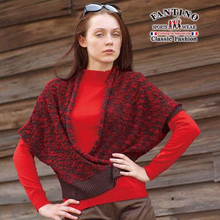 【FANTINO】台灣製*時尚高雅短版保暖羊毛披肩外套(紅)187303
