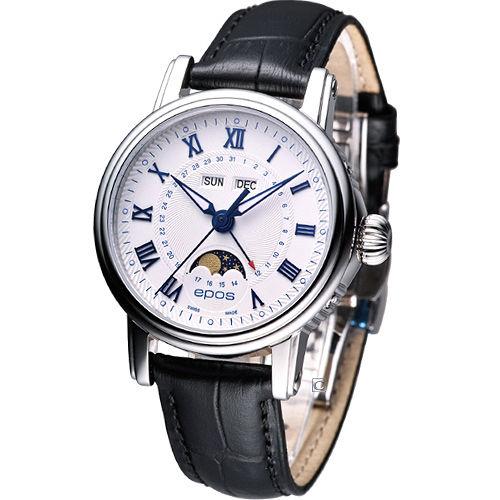 epos Emotion 月相盈虧 機械腕錶-(4391.832.20.20.15)白色