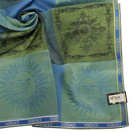 VERSACE 猛獸太陽圖騰繡紋領帕巾-綠/藍
