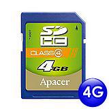 Apacer宇瞻 4GB SDHC 記憶卡(Class 4)
