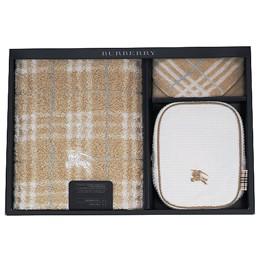 BURBERRY經典戰馬LOGO化妝盥洗包禮盒(三件組)-經典駝