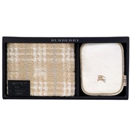 BURBERRY 經典戰馬LOGO化妝盥洗包禮盒(兩件組)-經典駝
