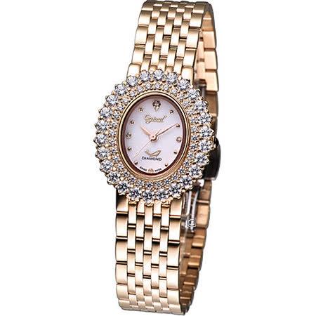 Ogival 愛其華 高雅粉紅薔薇 時尚腕錶-(380-02DLR-RK)橢圓玫瑰金色