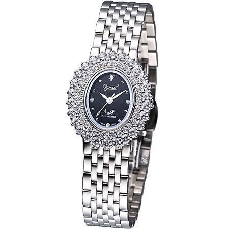 Ogival 愛其華 高雅粉紅薔薇 時尚腕錶-(380-02DLS-BK)橢圓黑色