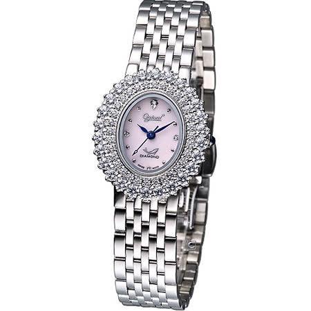 Ogival 愛其華 高雅粉紅薔薇 時尚腕錶-(380-02DLS)橢圓粉色